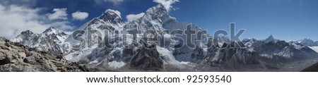 Everest and Lhotse mountain peaks. View from Kala Pattar - Nepal - stock photo