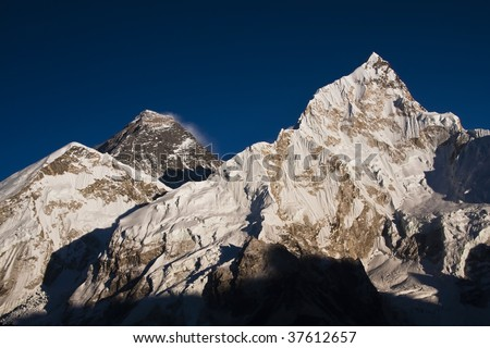 Everest at sunset. View from Kala Pattar - Nepal - stock photo