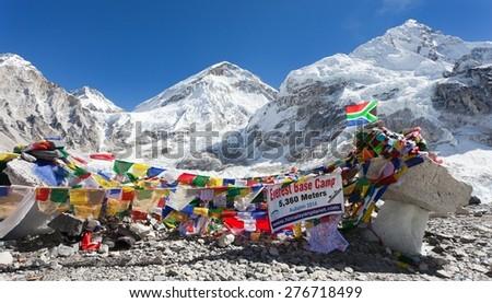 EVEREST BASE CAMP, NEPAL, 14th NOVEMBER 2014 - view from Mount Everest base camp with rows of buddhist prayer flags near Gorak Shep village - sagarmatha national park, way to Everest base camp - Nepal - stock photo