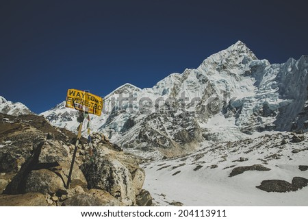 Everest base camp trail in Nepal - stock photo