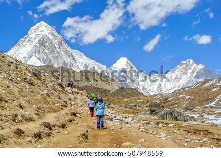 Everest Base Camp Trekking: walking to the destination.