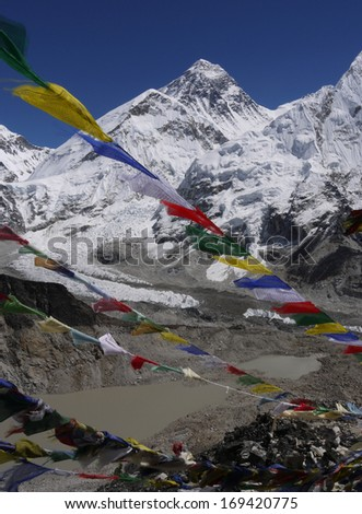 Everest, highest mountain in the world. Himalayas, Nepal - stock photo