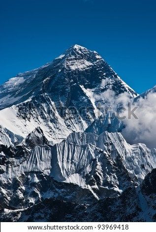 Everest Mountain Peak or Sagarmatha with 8848 m height - stock photo