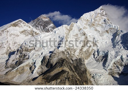 Everest & Nupse from Kalapattar, 5545m - stock photo