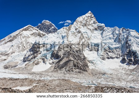 Everest, Nuptse and Lhotse landscape, Himalaya, Nepal - stock photo