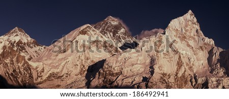 Everest Summit panoramic view with Lhotse and Nuptse peaks during sunset. Large resolution  - stock photo