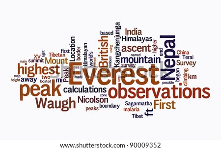 everest text cloud on isolated background - stock photo