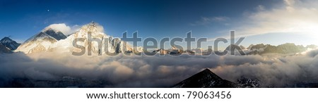 Everest & the West Face of Nuptse from Kala Patthar at Sunset - stock photo