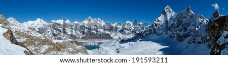 Everest view from the path - stock photo