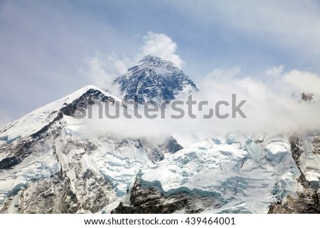 Everest. View of top of Mount Everest with clouds from Kala Patthar way to Everest base camp, khumbu valley - Neepal - stock photo