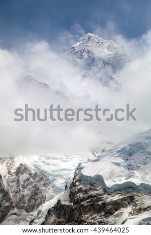 Everest. View of top of Mount Everest with clouds from Kala Patthar way to Everest base camp, khumbu valley - Nepal - stock photo