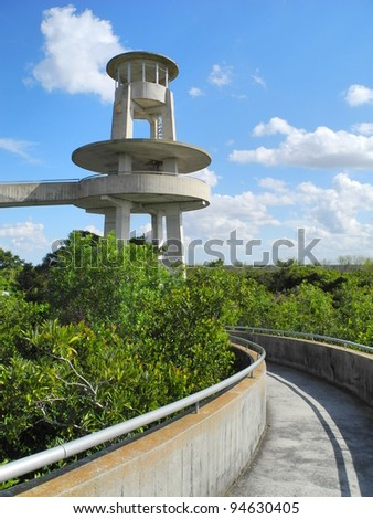 Everglades National Park spiral ramp way and platform of the Shark Valley observation tower - stock photo