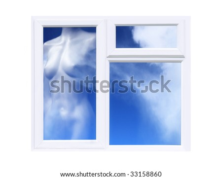 Every cloud has a Silver lining concept with shimmering gossamer Female cloud formation within Window frame - stock photo