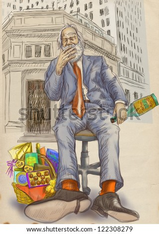 Every day is good to celebrate - even on the stock markets on Wall Street - an old man, a businessman with a bottle of rum and a cigar in his mouth. / Hand drawing, color version on the old paper. - stock photo