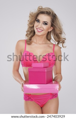 Every women like sweet pink gifts  - stock photo