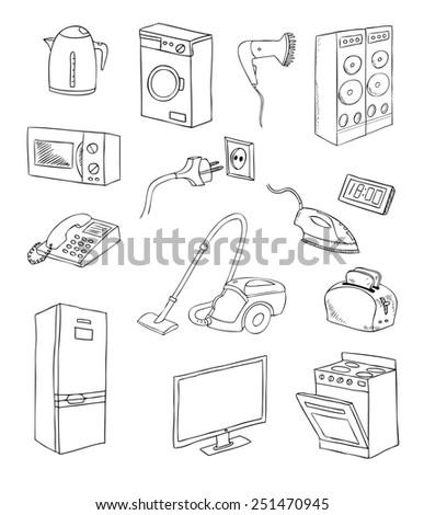 everyday household appliances set - stock photo
