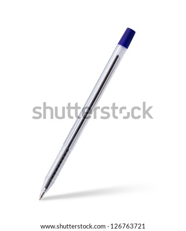 Everyday plastic plastic pen isolated on white paper with beautiful soft shadow - stock photo