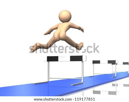 Everyone continue to run the hurdles. - stock photo
