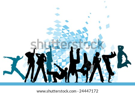 Everyone dancing and having fun. Urban city party. Vector images scale to any size. Raster version of vector illustration.