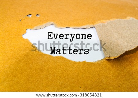 Everyone matters text on brown envelope  - stock photo