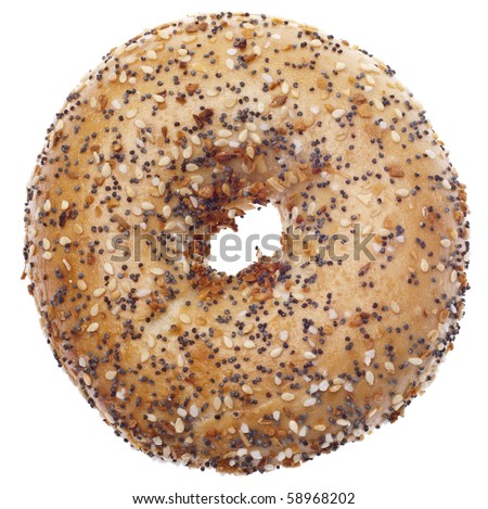 Everything Bagel Isolated on White with a Clipping Path.