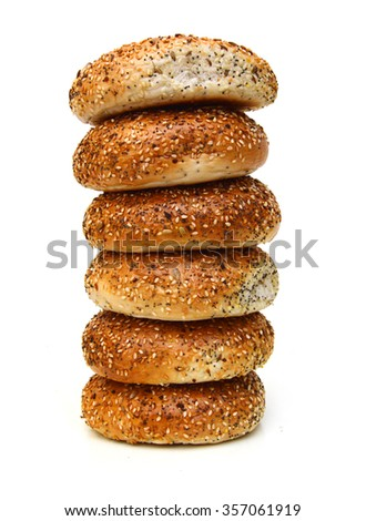 Everything Bagels Isolated on White background