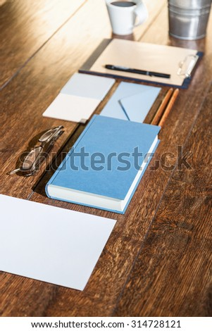 Everything is arranged in a row on the desk