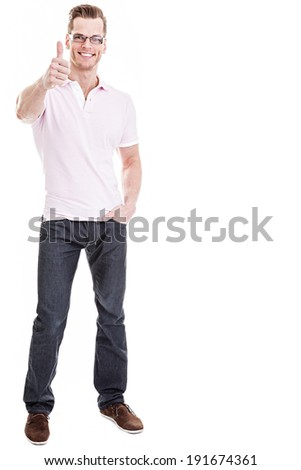 Everything is great! -Full length shot of a handsome young guy giving a thumb's up on a white background
