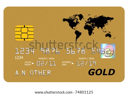 Everything on this mock gold card including the hologram has been designed by myself, the number and name is generic. - stock photo