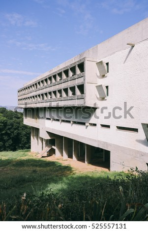 EVEUX, FRANCE - CIRCA SEPTEMBER 2016: Exterior view of Sainte Marie de La Tourette, a Dominican Order priory designed by Le Corbusier in Eveux, France