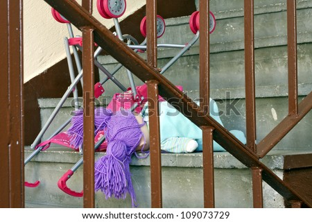 Eviction and violence homelessness concept metaphor - stock photo
