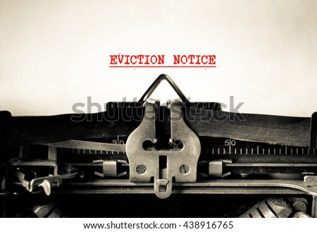 Eviction Notice words typed words on a Vintage Typewriter