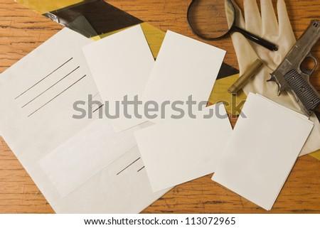 Evidence and crime scene photos - stock photo