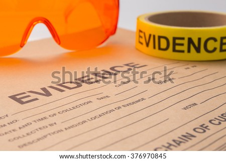 evidence bag and tool for forensic in crime scene - stock photo