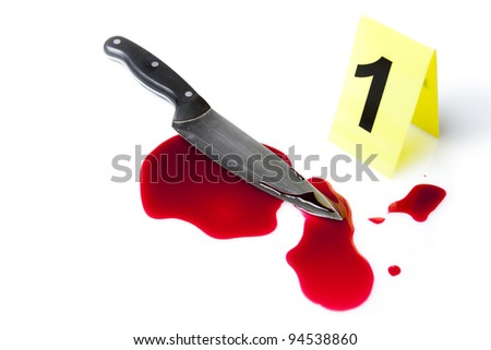 evidence marker with blood splatter isolated on white - stock photo