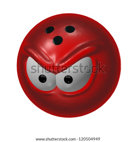 evil bowling ball - 3d cartoon illustration - stock photo