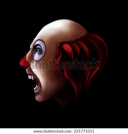 Evil clown - stock photo