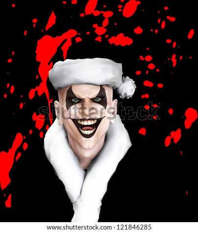 Evil clown Santa covered in blood. - stock photo