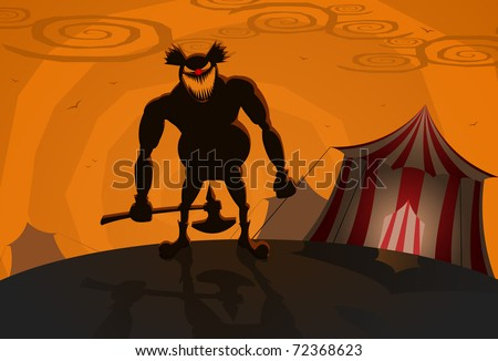 Evil clown with circus on background, Halloween theme - stock photo