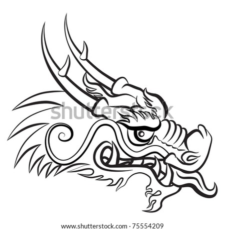 Evil dragon head. Artwork inspired with traditional Chinese and Japanese dragon arts. JPEG version. - stock photo