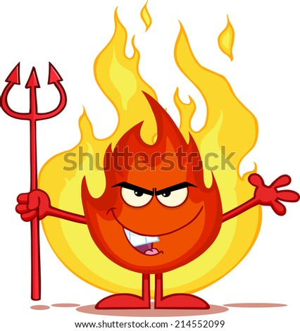 Evil Fire Cartoon Mascot Character Holding Up A Pitchfork In Front Of Flames