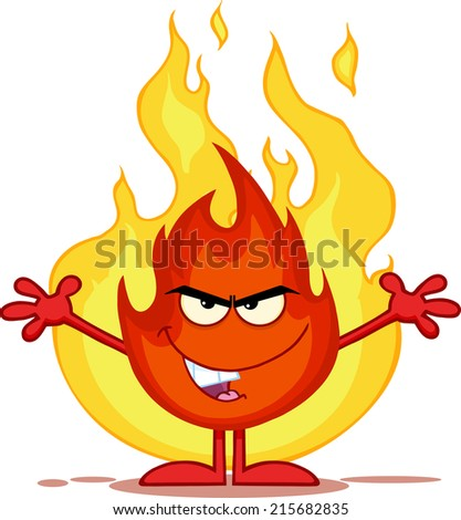 Evil Fire Cartoon Mascot Character With Open Arms In Front Of Flames. Raster Illustration  - stock photo