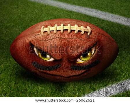 Evil Football Illustration - stock photo