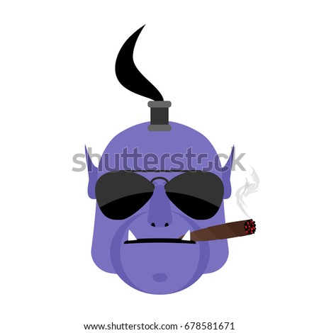 Evil genie with cigar. Aggressive  magic character isolated
