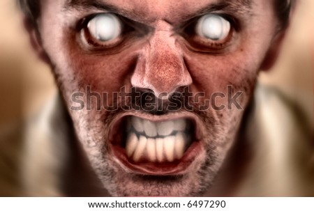 Evil halloween face concept. Scares kids easily, and has been tested. Depth of field located very shallow to create a dramatic image - stock photo