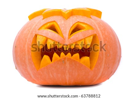 Evil Halloween pumpkin - stock photo