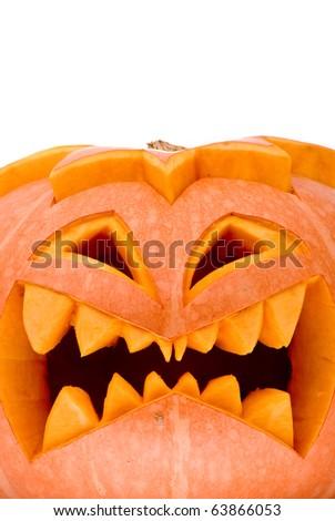 Evil Halloween pumpkin - stock photo