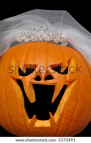 Evil jack-o-lantern bride with veil and tiara - stock photo