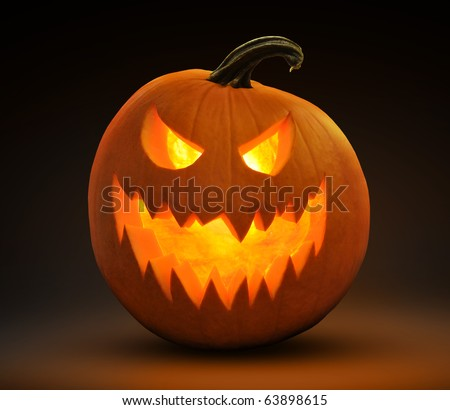 evil laughing jack-o-lantern - stock photo