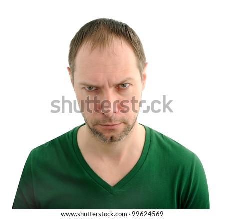 Evil man face - stock photo